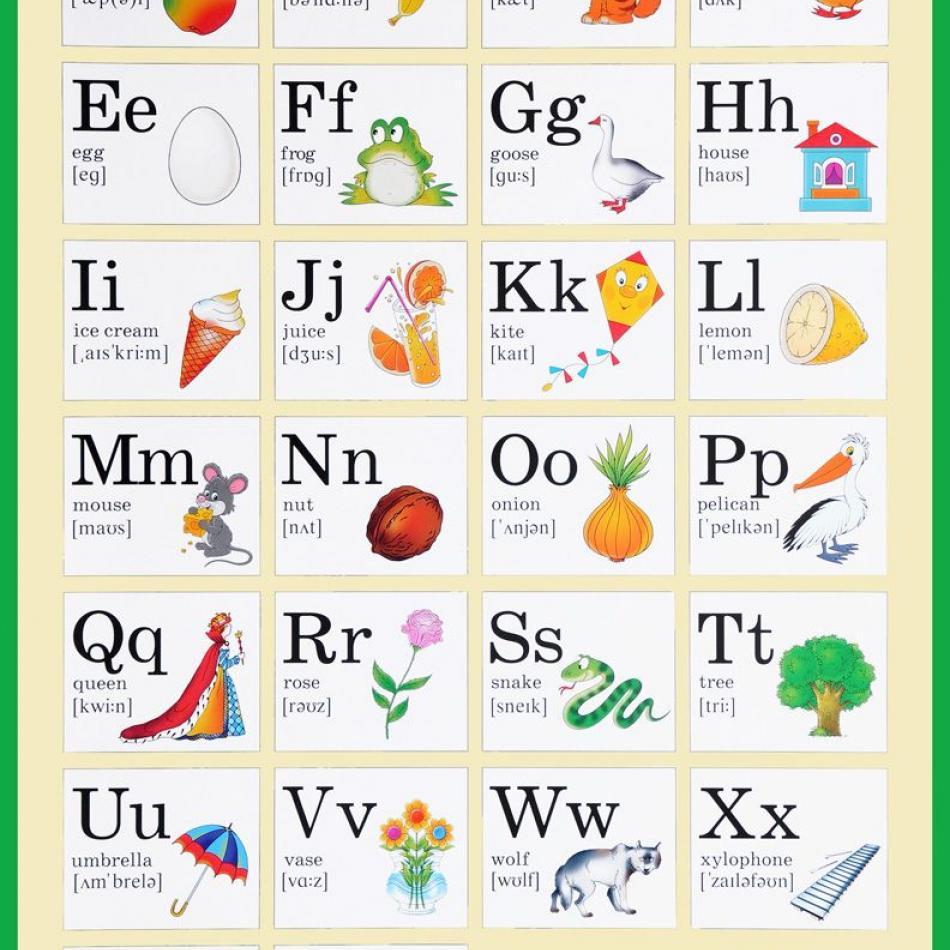 последовательно ведёт картинки к каждой букве английского алфавита назначьте меня эту